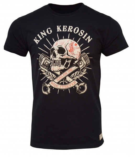 King Kerosin T-Shirt Skull Pistons Vintage Black
