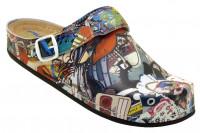 AWC Footwear Berufsschuhe Sandale Comic mit schwarzer PU Sohle in Comicmuster