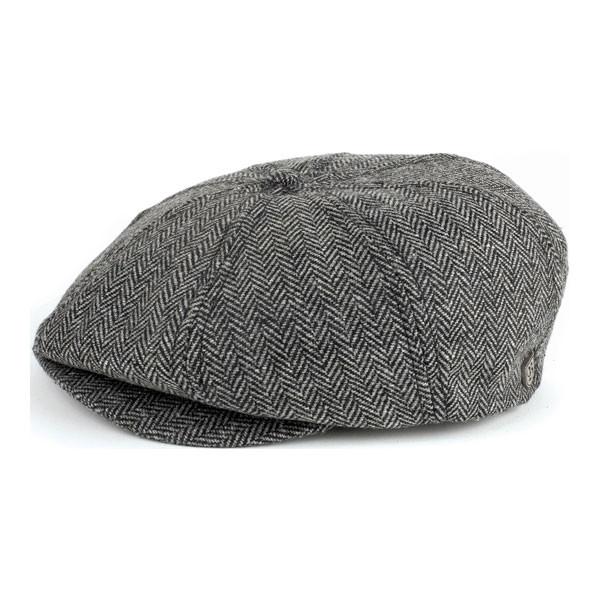 Brixton Cap Brood Grey Black Herringbone