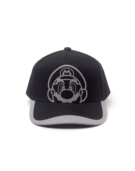 Super Mario Cap Super Mario Reflective Print Curved Bill Black