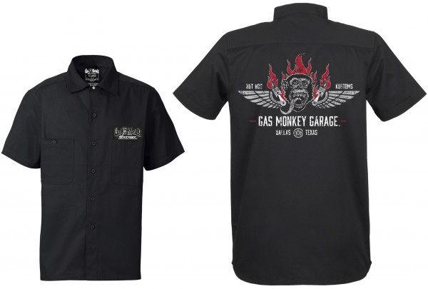 Gas Monkey Garage Workershirt Front Flaming Monkey Black