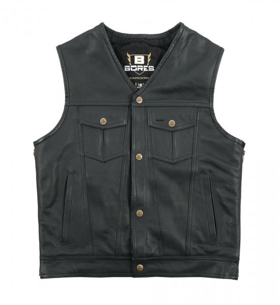 Bores Weste Sunride 6 Lederweste Jeans-Optik Black