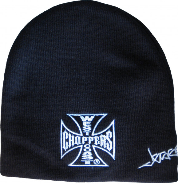 WCC West Coast Choppers Beanie Iron Cross Schwarz