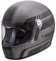 Premier Retro Integralhelm Trophy BL17 BM Grey/Black Matt
