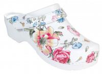 AWC Footwear Berufsschuhe Clog Blumen mit PU Sohle in Blumenmuster