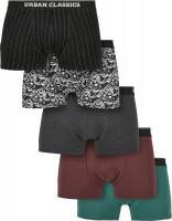 Urban Classics Organic Boxer Shorts 5-Pack P.Str.AOP/D.AOP/Chr/Chry/Tr.Gr