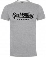 Gas Monkey Garage T-Shirt Large Script Logo Grey