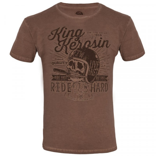 King Kerosin T-Shirt Made in Hell Oilwashed Brown