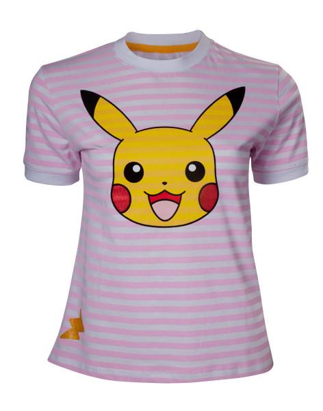 Pokémon Pikachu Striped Women's T-shirt Pink
