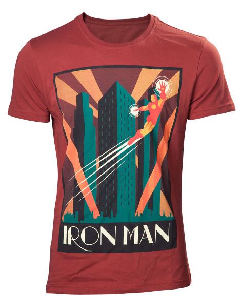 Marvel Comics Retro T-shirt Iron man men's t-shirt Red-XL