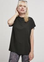 Urban Classics Damen T-Shirt Ladies Oversized Cut On Sleeve Viscose Tee Black