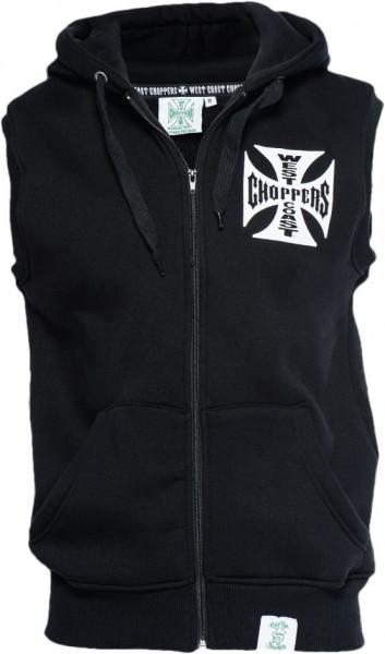 WCC West Coast Choppers Hoodie Sleeveless Iron Cross Black