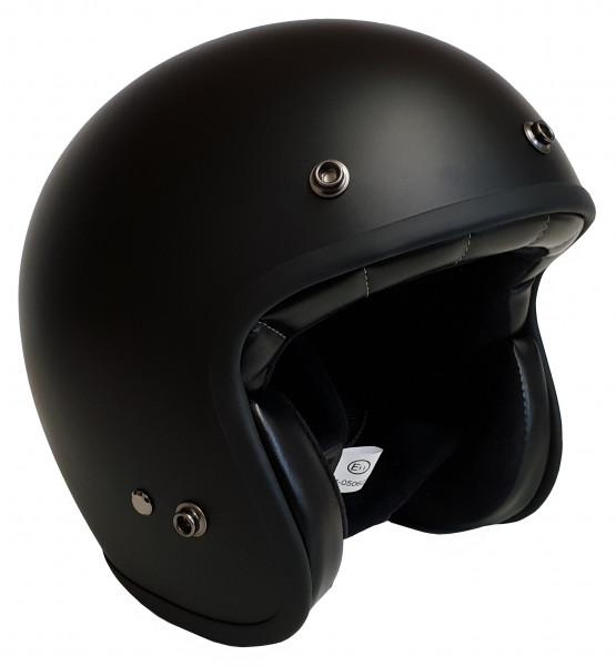 Bores Motorrad Helm Gensler Classic Jethelm mit Textil Innenfutter matt Black