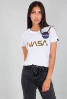 Alpha Industries Damen T-Shirt NASA PM T Women White/Gold