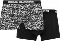 Urban Classics Organic Boxer Shorts 2-Pack Detail AOP/Black