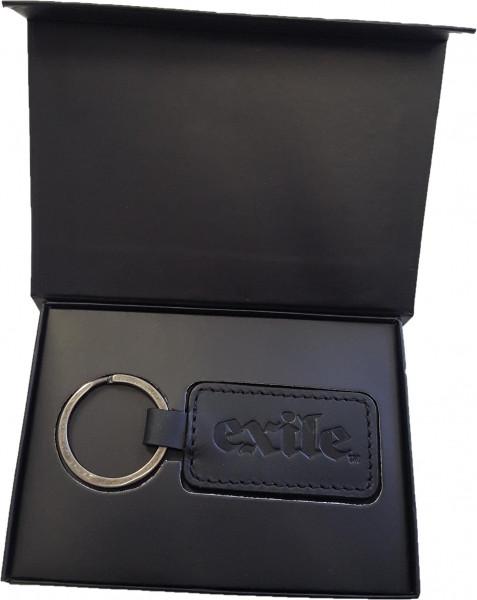 Exile Schlüsselanhänger Leather Single Sided Rectangular Key Ring Black