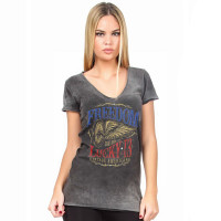 Lucky 13 Female Shirt Freedom Wheel Ladies Tee Washed Grey
