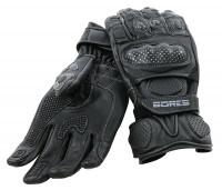 Bores Motorradhandschuhe Dark Black Leder Handschuhe Black