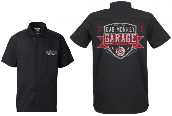 Gas Monkey Garage Workershirt Front Bolted Shield Black