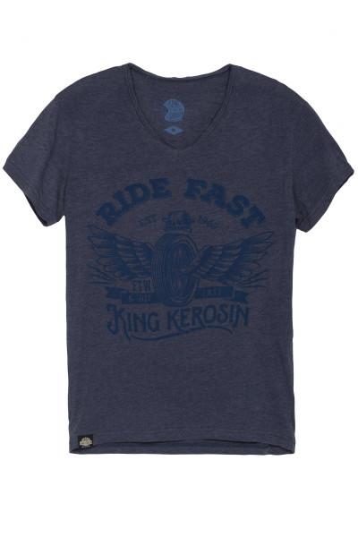 King Kerosin T-Shirt Ride Fast V-Neck Blue
