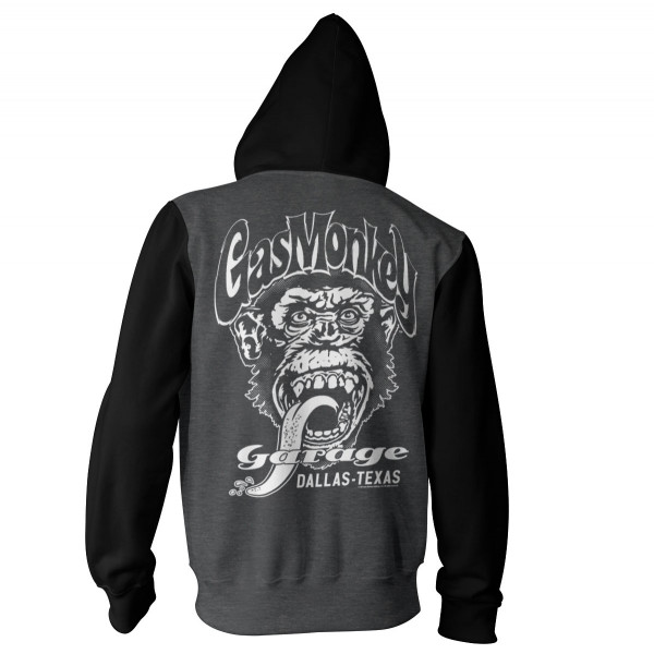 Gas Monkey Garage Hoodie Dallas, Texas Varsity Zip Darkgrey/Black