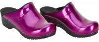 Sanita Damen Offener Clog Original-Metallic Patent Open Purple