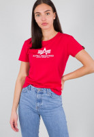 Alpha Industries Female Shirt New Basic T Women Speed Red