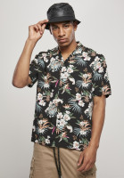 Urban Classics Hemd Viscose AOP Resort Shirt Blacktropical