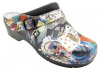 AWC Footwear Berufsschuhe Clog Comic mit schwarzer PU Sohle in Comicmuster