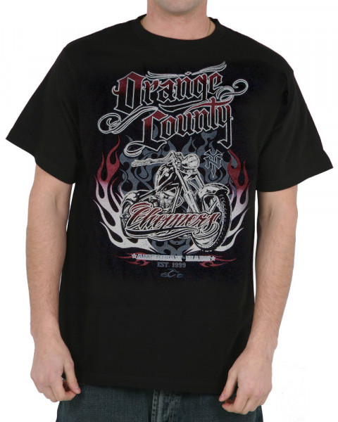 OCC Orange County Choppers T-Shirt Graphic Flames Black