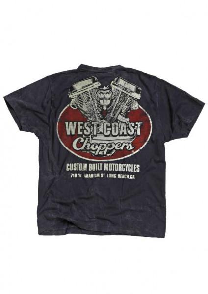 WCC West Coast Choppers T-Shirt Panhead Blue
