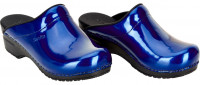 Sanita Damen Offener Clog Original-Metallic Patent Open Blue