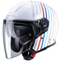 Caberg Motorrad Jethelm Flyon Bakari Weiß/Silber-Blau-Rot