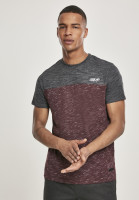 Southpole T-Shirt Color Block Tech Tee Marled Burgundy