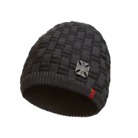 WCC West Coast Choppers Beanie Metal Patch Grey