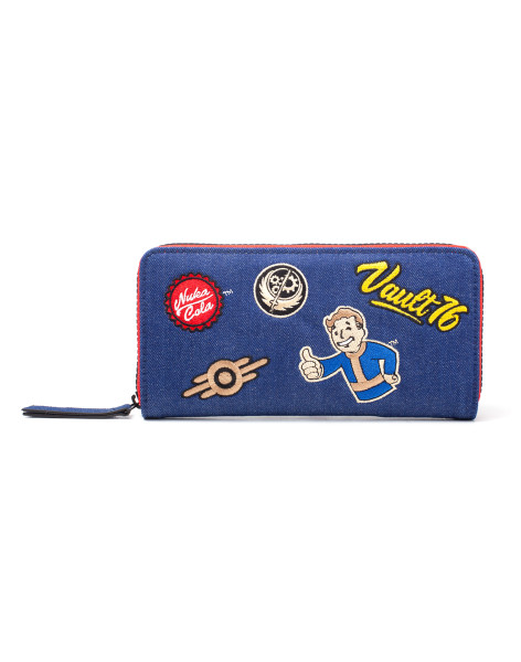 Fallout Wallets Fallout - Vault 76 Denim Zip Around Wallet With Patches Multicolor
