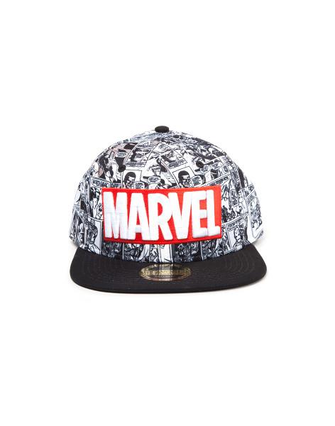 Marvel Comics Retro Cap Classic Red and White Logo Snapback Black