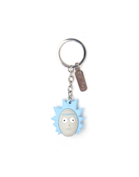 Rick and Morty Keychain Ricks Face 3D Rubber Blue