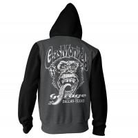 Gas Monkey Garage Hoodie Dallas, Texas Varsity Zip Darkgrey/Black