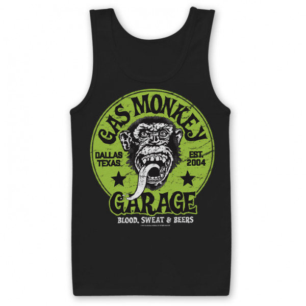 Gas Monkey Garage Tank Top Green Logo Black