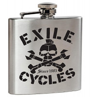 Exile Flask Stainless Steel Hip Flask Skull Classic Silver