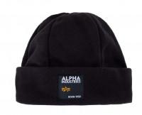 Alpha Industries Mütze Label Fleece Beanie Black