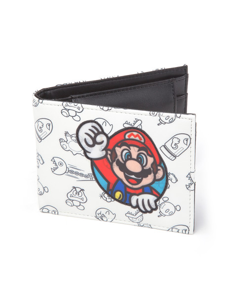 Nintendo Wallet Allover Print Bifold with Super Mario Patch White