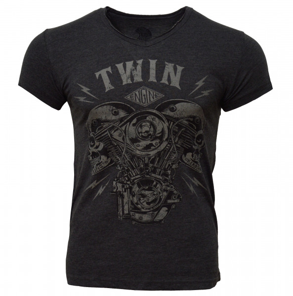 King Kerosin T-Shirt Twin Skull V-Neck Black