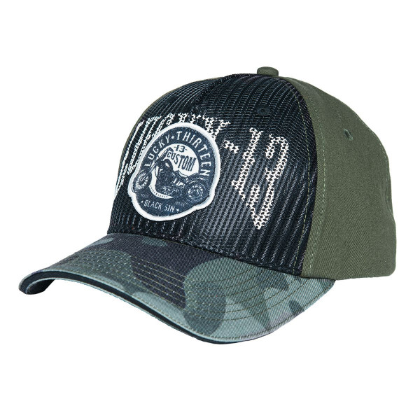 Lucky 13 Cap Trucker Cap Black Sin Camo Military Green