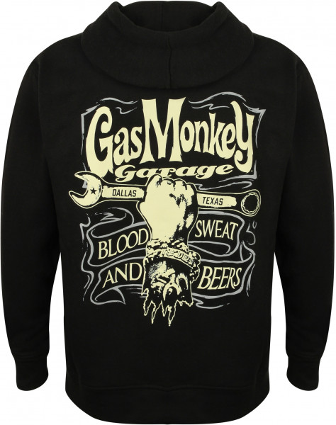 Gas Monkey Garage Hoodie Hand & Spanner Zip Black