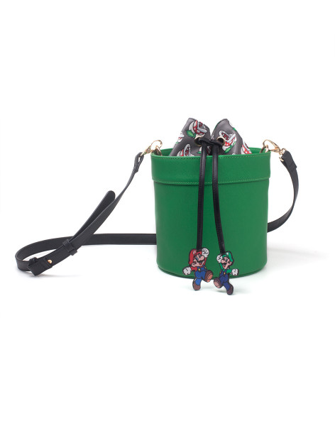 Super Mario Handbags Super Mario - Shaped Pipe Lady Drawstring Shoulderbag Green