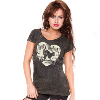 Lucky 13 Female Shirt Prowl Ladies Tee Washed Brown
