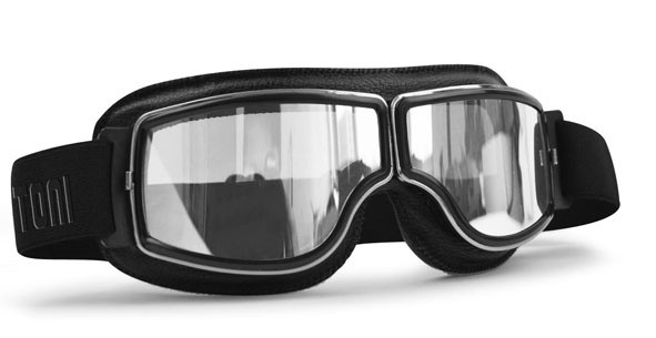 Bertoni Brillen Antifog Af188A Schwarz Leder/Klar- Verspiegelt