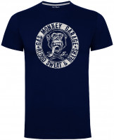 Gas Monkey Garage T-Shirt Blood Sweat and Beers Distressed Monkey Circle Navy Blue
